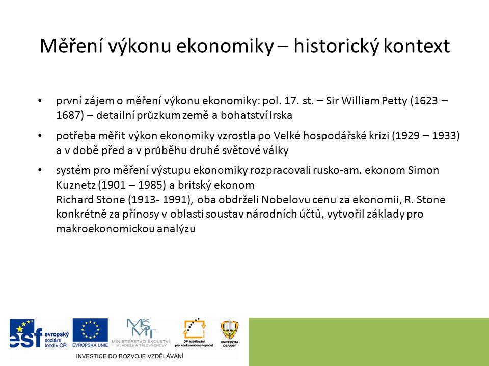 Měření výkonu ekonomiky – historický kontext první zájem o měření výkonu ekonomiky: pol. 17. st. – Sir William Petty (1623 – 1687) – detailní průzkum