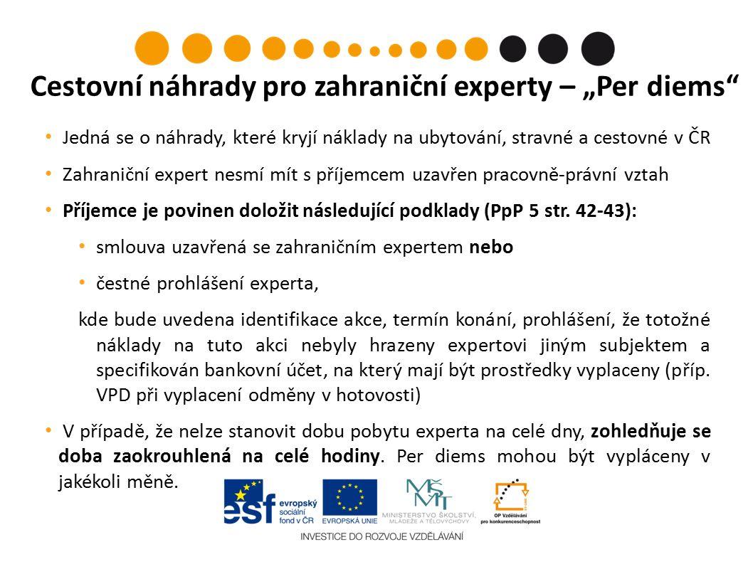 Jedná se o náhrady, které kryjí náklady na ubytování, stravné a cestovné v ČR Zahraniční expert nesmí mít s příjemcem uzavřen pracovně-právní vztah Příjemce je povinen doložit následující podklady (PpP 5 str.