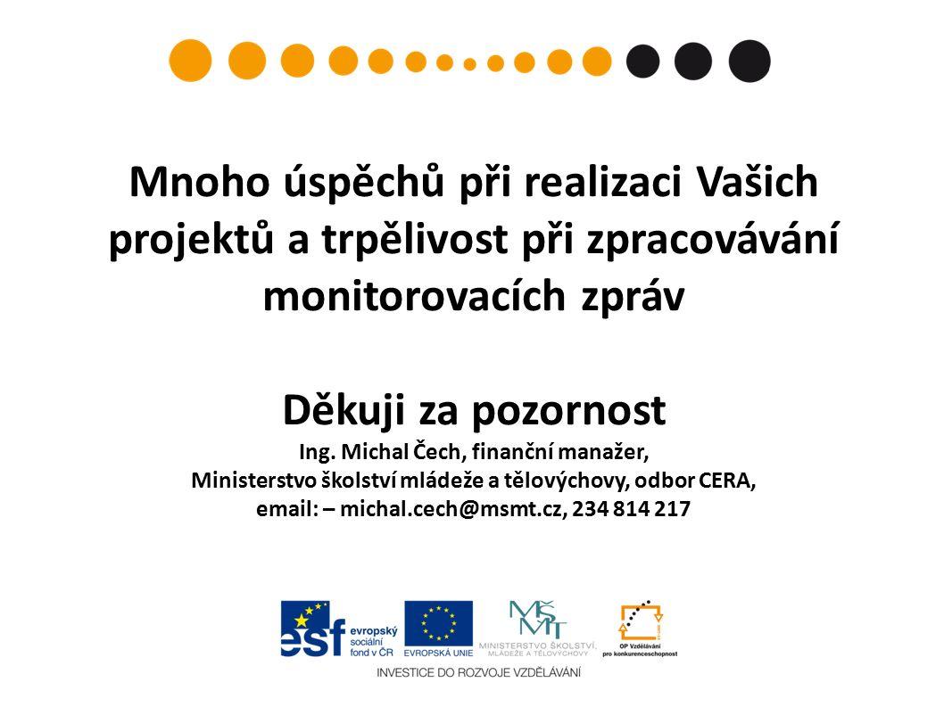 Mnoho úspěchů při realizaci Vašich projektů a trpělivost při zpracovávání monitorovacích zpráv Děkuji za pozornost Ing.