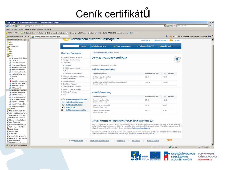Ceník certifikát ů