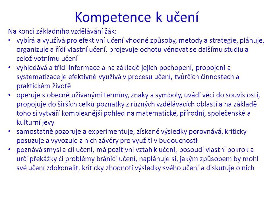 Kompetence k učení Na konci základního vzdělávání žák: vybírá a využívá pro efektivní učení vhodné způsoby, metody a strategie, plánuje, organizuje a