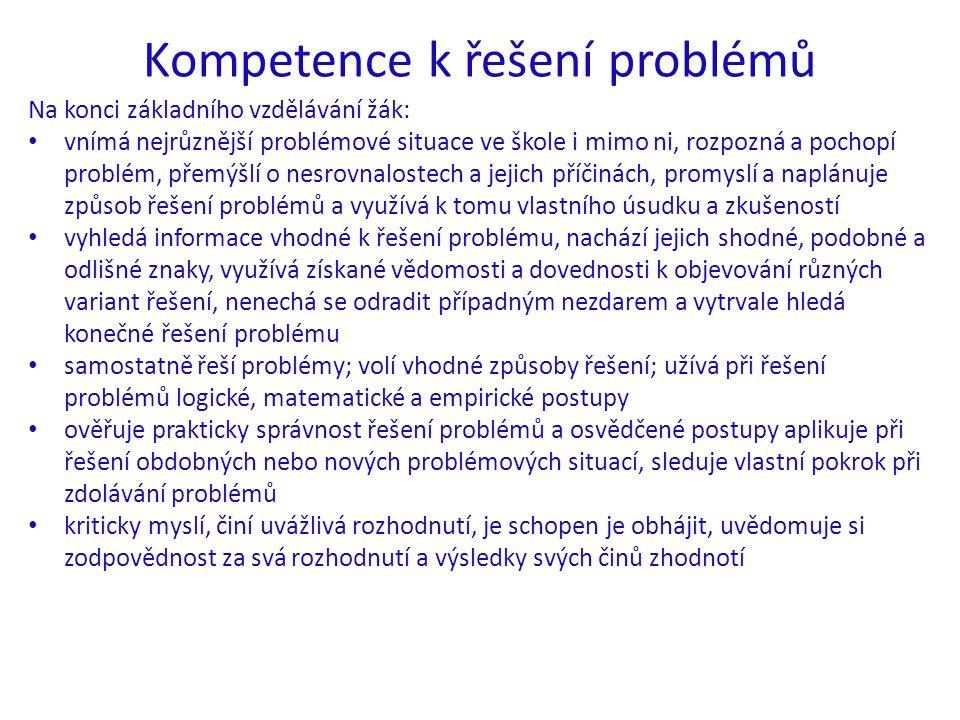Kompetence k řešení problémů Na konci základního vzdělávání žák: vnímá nejrůznější problémové situace ve škole i mimo ni, rozpozná a pochopí problém, přemýšlí o nesrovnalostech a jejich příčinách, promyslí a naplánuje způsob řešení problémů a využívá k tomu vlastního úsudku a zkušeností vyhledá informace vhodné k řešení problému, nachází jejich shodné, podobné a odlišné znaky, využívá získané vědomosti a dovednosti k objevování různých variant řešení, nenechá se odradit případným nezdarem a vytrvale hledá konečné řešení problému samostatně řeší problémy; volí vhodné způsoby řešení; užívá při řešení problémů logické, matematické a empirické postupy ověřuje prakticky správnost řešení problémů a osvědčené postupy aplikuje při řešení obdobných nebo nových problémových situací, sleduje vlastní pokrok při zdolávání problémů kriticky myslí, činí uvážlivá rozhodnutí, je schopen je obhájit, uvědomuje si zodpovědnost za svá rozhodnutí a výsledky svých činů zhodnotí