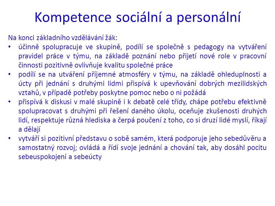 Kompetence sociální a personální Na konci základního vzdělávání žák: účinně spolupracuje ve skupině, podílí se společně s pedagogy na vytváření pravid