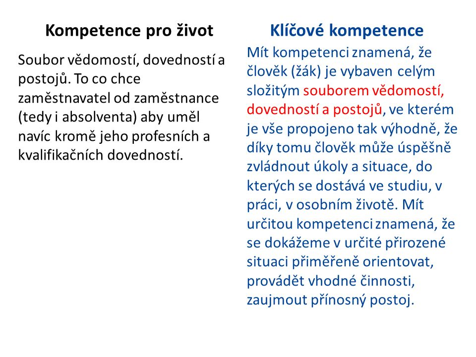 Kompetence pro život Soubor vědomostí, dovedností a postojů. To co chce zaměstnavatel od zaměstnance (tedy i absolventa) aby uměl navíc kromě jeho pro
