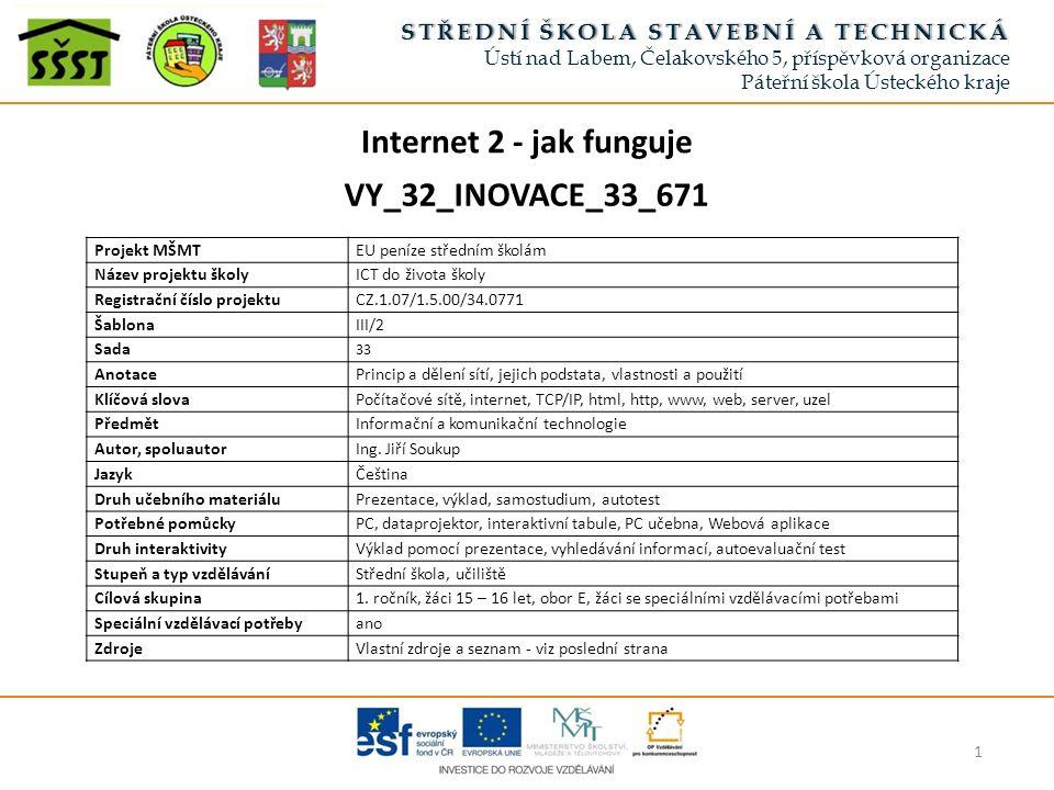 Internet 2 - jak funguje Způsob jednotného a spolehlivého přenosu informací: Po celém světě jsou takto rozmístěny servery (uzly), na nichž jsou uloženy informace.