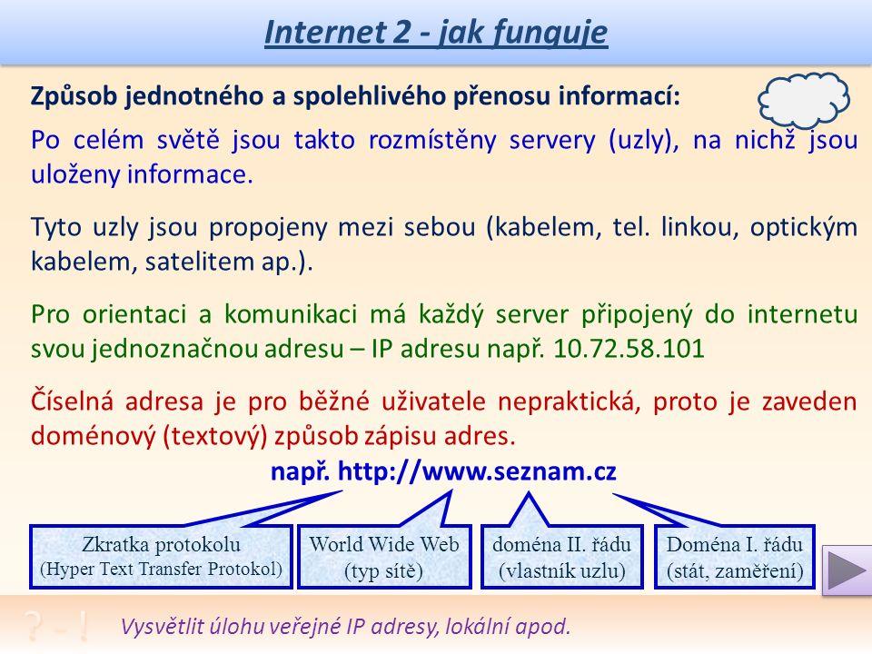 Internet 2 - jak funguje Způsob jednotného a spolehlivého přenosu informací: Protokoly TCP/IP – jednoznačné přiřazení posílaných dat k danému příjemci.