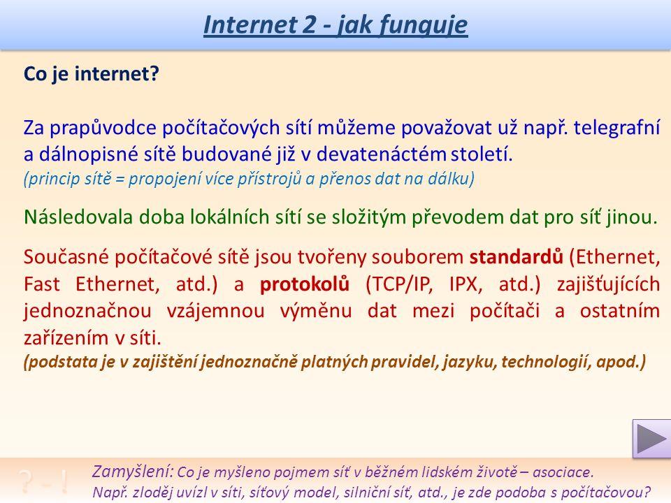 Internet 2 - jak funguje Funkce DNS (Domain Name System): Uživatel hledá doménu – např.