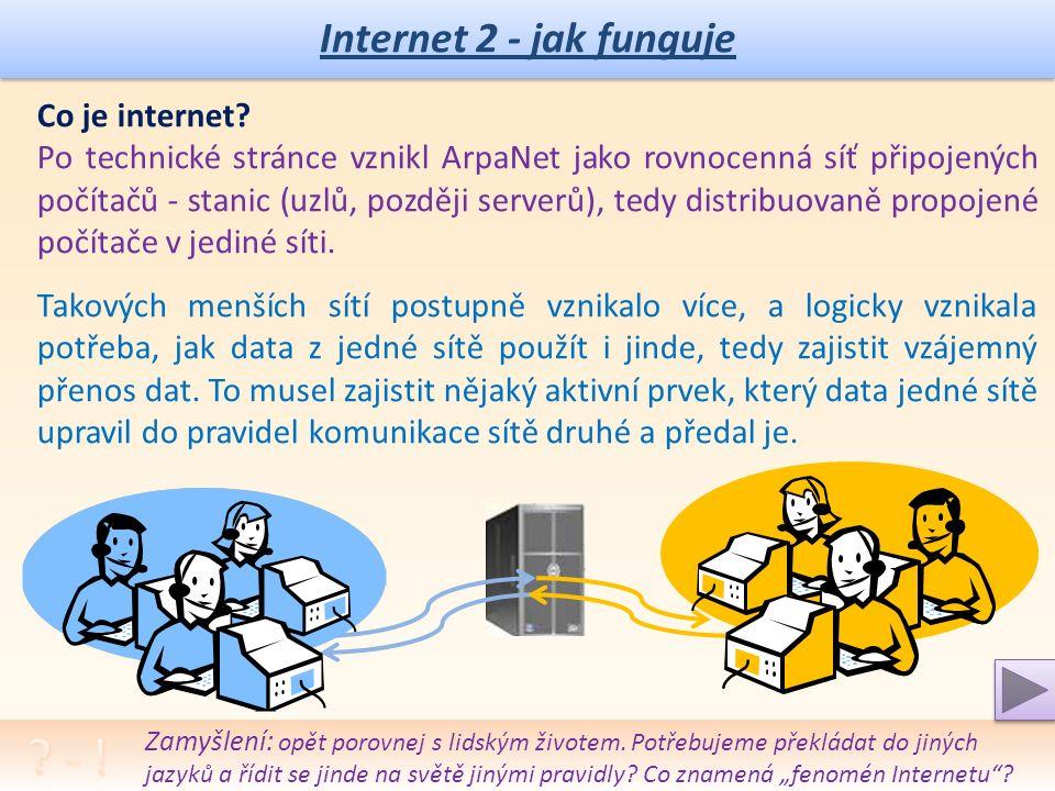"""Internet 2 - jak funguje Institucionární princip práce na Internetu: Princip zapojení """"firemní sítě do """"podsítí a služeb pro: elektronickou poštu – Mail přenos souborů – FTP webové služby - DNS Umístění a význam rozdílných serverů."""