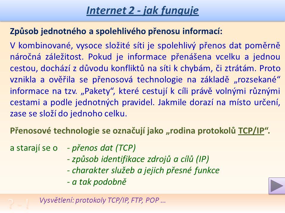 Internet 2 - jak funguje Způsob jednotného a spolehlivého přenosu informací: V kombinované, vysoce složité síti je spolehlivý přenos dat poměrně náročná záležitost.