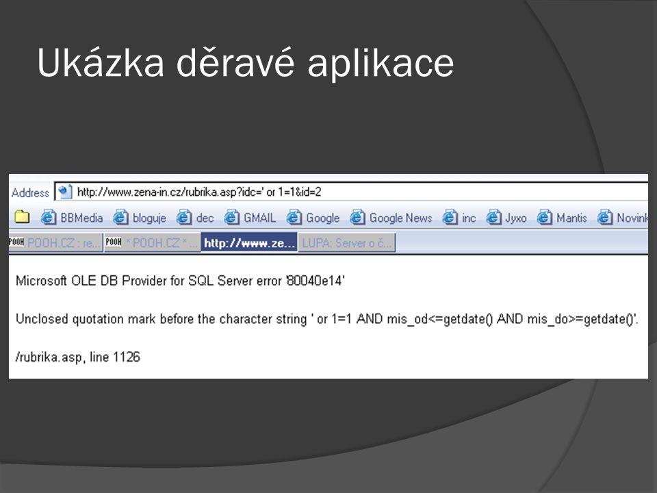 Escapování 2/2  PHP magic_quotes_gpc – DEPRECATED  MySQL mysqli_real_escape_string()  SQLite sqlite_escape_string()  PostgreSQL pg_escape_string()  select * from clanky where id= .mysqli_real_escape_string($id);