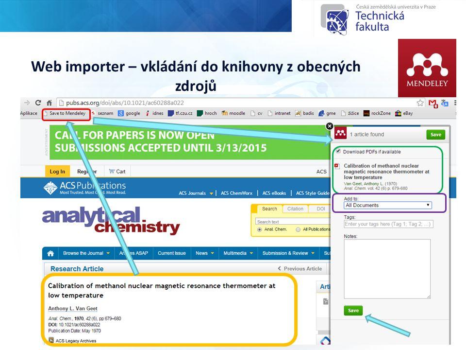 Web importer – vkládání do knihovny z obecných zdrojů