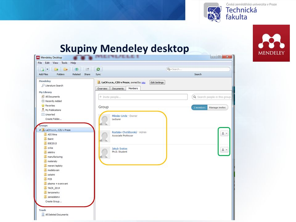 Skupiny Mendeley desktop