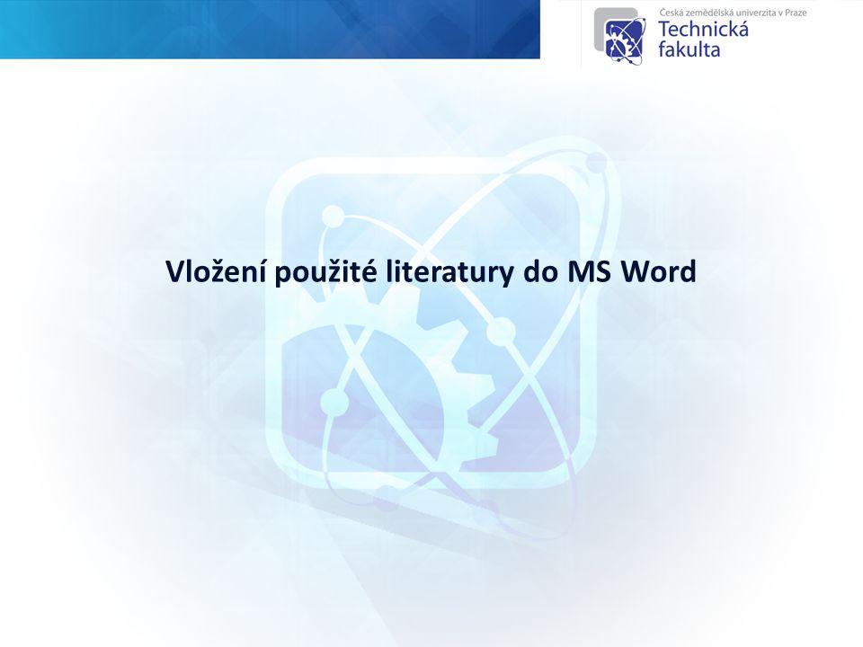 Vložení použité literatury do MS Word