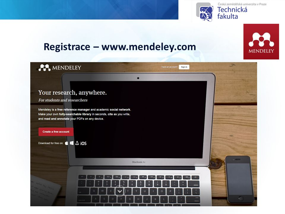 Registrace – www.mendeley.com