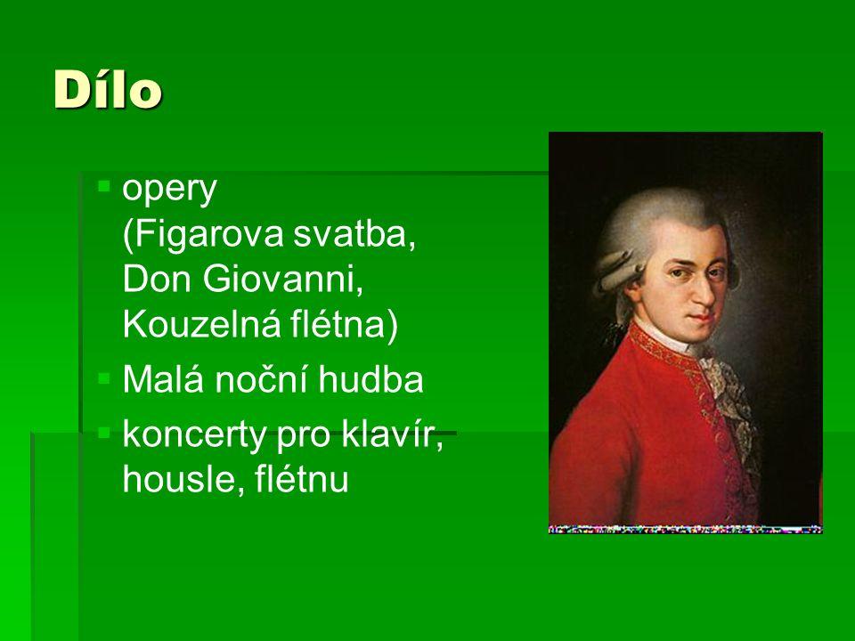 Dílo   opery (Figarova svatba, Don Giovanni, Kouzelná flétna)   Malá noční hudba   koncerty pro klavír, housle, flétnu