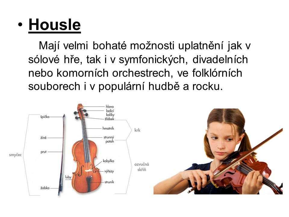 Housle Mají velmi bohaté možnosti uplatnění jak v sólové hře, tak i v symfonických, divadelních nebo komorních orchestrech, ve folklórních souborech i v populární hudbě a rocku.