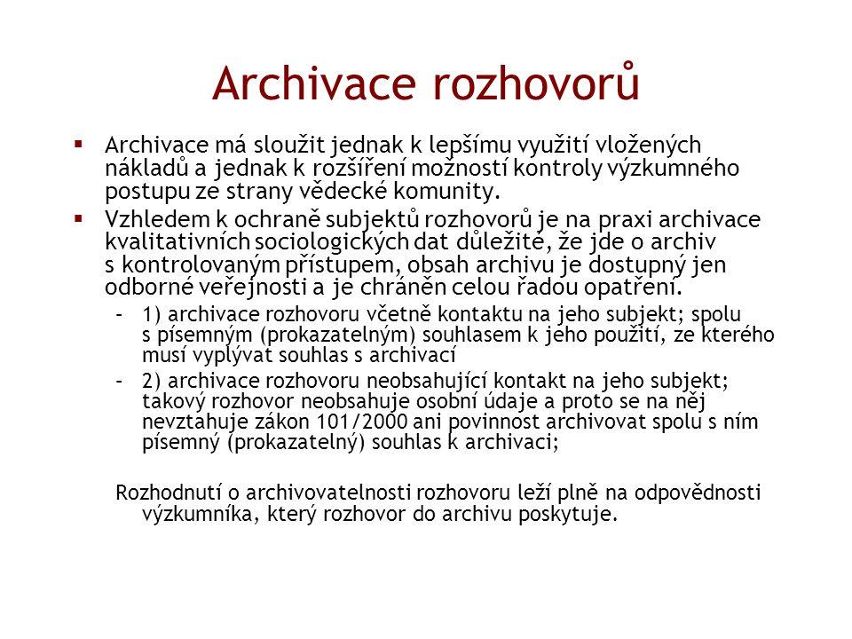 Archivace rozhovorů  Archivace má sloužit jednak k lepšímu využití vložených nákladů a jednak k rozšíření možností kontroly výzkumného postupu ze strany vědecké komunity.