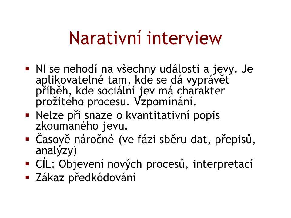 Narativní interview  NI se nehodí na všechny události a jevy.