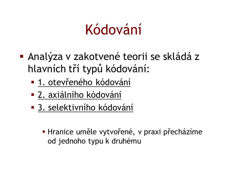 Kódování  Analýza v zakotvené teorii se skládá z hlavních tří typů kódování:  1.