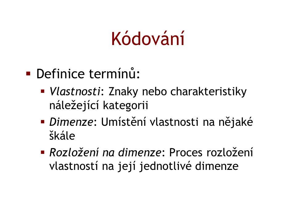 Kódování  Definice termínů:  Vlastnosti: Znaky nebo charakteristiky náležející kategorii  Dimenze: Umístění vlastnosti na nějaké škále  Rozložení na dimenze: Proces rozložení vlastností na její jednotlivé dimenze