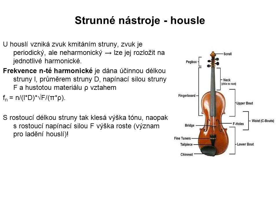 U houslí vzniká zvuk kmitáním struny, zvuk je periodický, ale neharmonický → lze jej rozložit na jednotlivé harmonické.