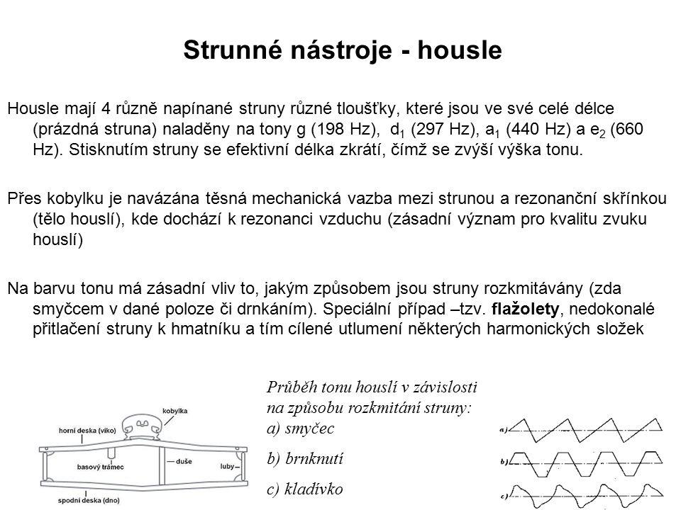Housle mají 4 různě napínané struny různé tloušťky, které jsou ve své celé délce (prázdná struna) naladěny na tony g (198 Hz), d 1 (297 Hz), a 1 (440 Hz) a e 2 (660 Hz).
