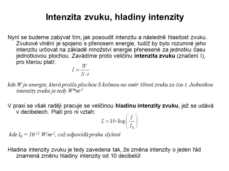 Intenzita zvuku, hladiny intenzity 2 Typ zvuku Intenzita zvuku (W*m -2 ) Hladina intenzity (dB) Práh slyšení 10 -12 0 Šelest listí 10 -11 10 Šum listí 10 -10 20 Pouliční šum v tichém místě 10 -9 30 Tichý rozhovor 10 -8 40 Normální pouliční hluk 10 -7 50 Normální rozhovor 10 -6 60 Hluk na frekvent.