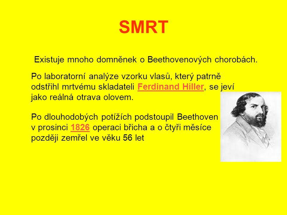 SMRT Existuje mnoho domněnek o Beethovenových chorobách.