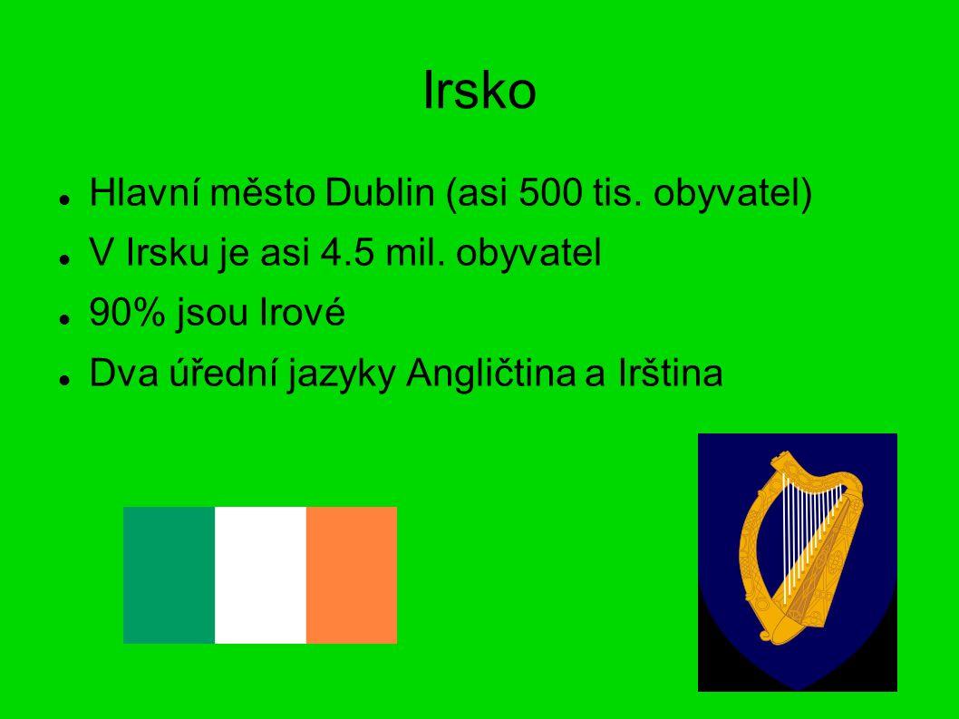 Irsko Hlavní město Dublin (asi 500 tis. obyvatel) V Irsku je asi 4.5 mil.