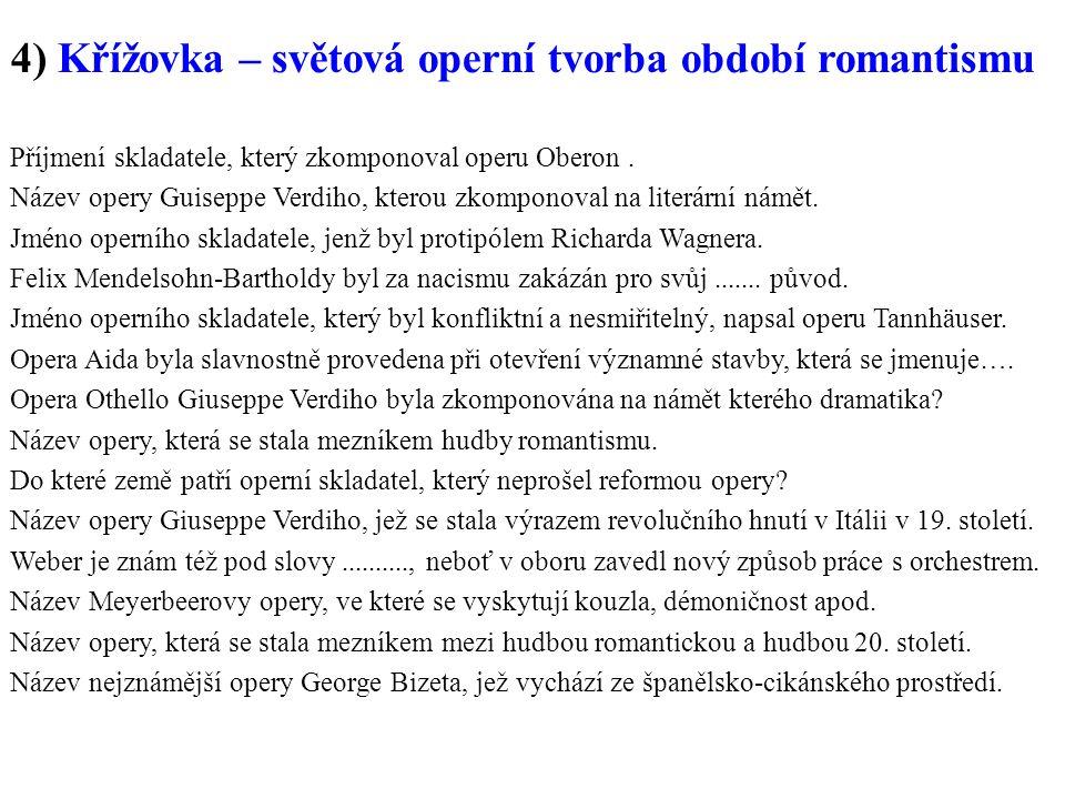 4) Křížovka – světová operní tvorba období romantismu Příjmení skladatele, který zkomponoval operu Oberon.