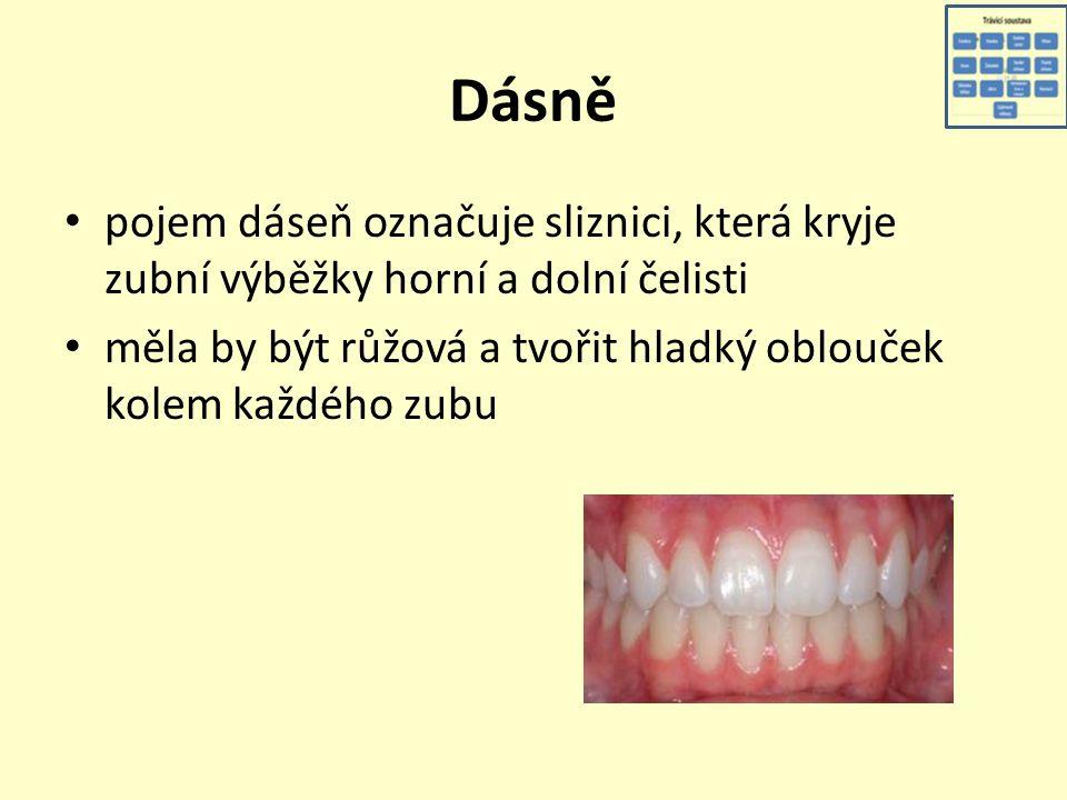 Dásně pojem dáseň označuje sliznici, která kryje zubní výběžky horní a dolní čelisti měla by být růžová a tvořit hladký oblouček kolem každého zubu