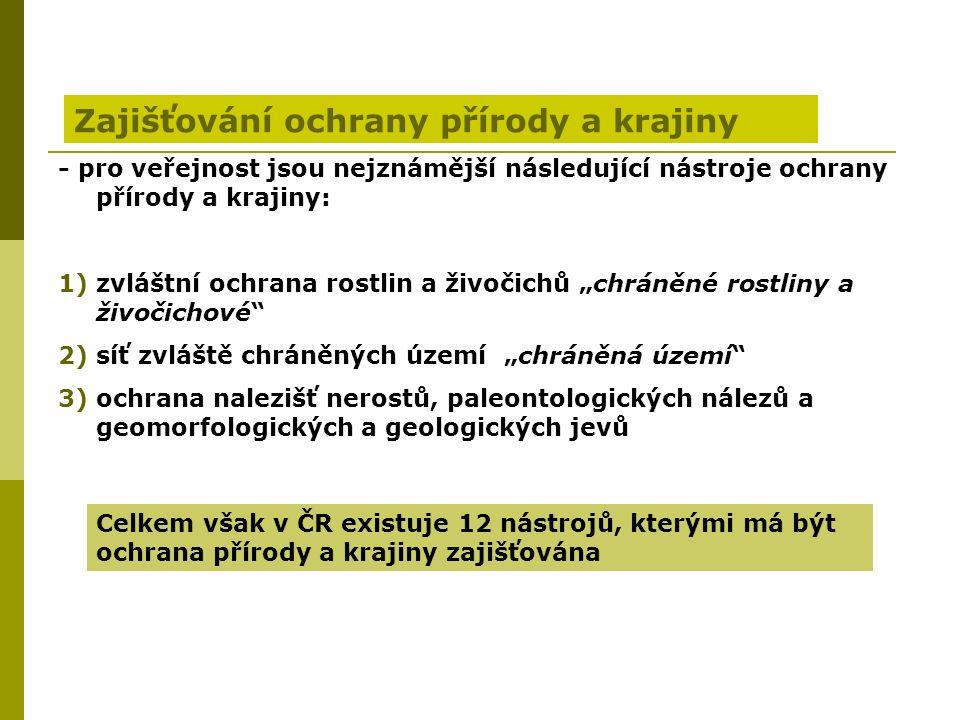 """Zajišťování ochrany přírody a krajiny - pro veřejnost jsou nejznámější následující nástroje ochrany přírody a krajiny: 1)zvláštní ochrana rostlin a živočichů """"chráněné rostliny a živočichové 2)síť zvláště chráněných území """"chráněná území 3)ochrana nalezišť nerostů, paleontologických nálezů a geomorfologických a geologických jevů Celkem však v ČR existuje 12 nástrojů, kterými má být ochrana přírody a krajiny zajišťována"""