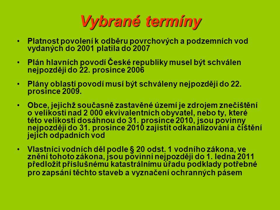 Vybrané termíny Platnost povolení k odběru povrchových a podzemních vod vydaných do 2001 platila do 2007 Plán hlavních povodí České republiky musel být schválen nejpozději do 22.