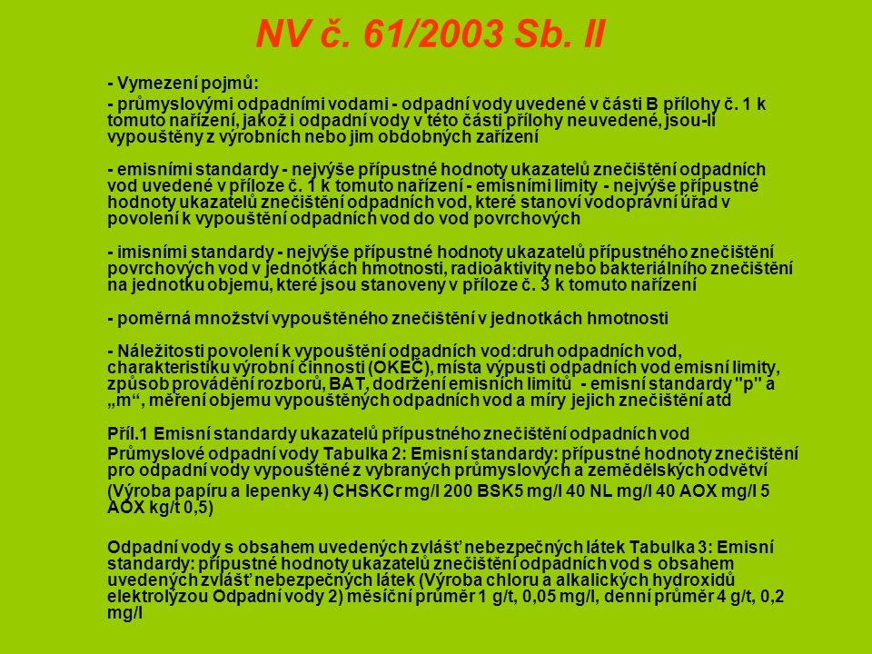 NV č. 61/2003 Sb.