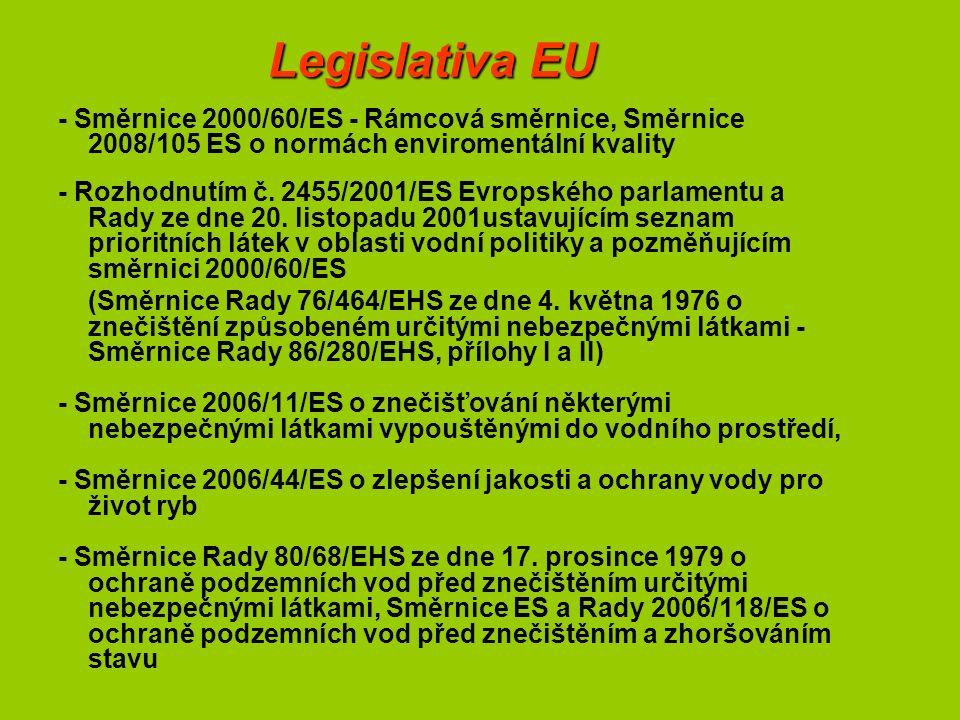 Legislativa EU - Směrnice 2000/60/ES - Rámcová směrnice, Směrnice 2008/105 ES o normách enviromentální kvality - Rozhodnutím č.