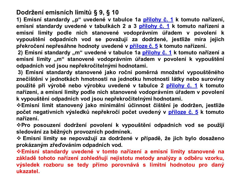 """Dodržení emisních limitů § 9, § 10 1) Emisní standardy """"p uvedené v tabulce 1a přílohy č."""