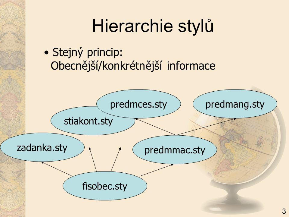 Hierarchie stylů Stejný princip: Obecnější/konkrétnější informace fisobec.sty predmang.sty 3 zadanka.sty predmmac.sty stiakont.stypredmces.sty
