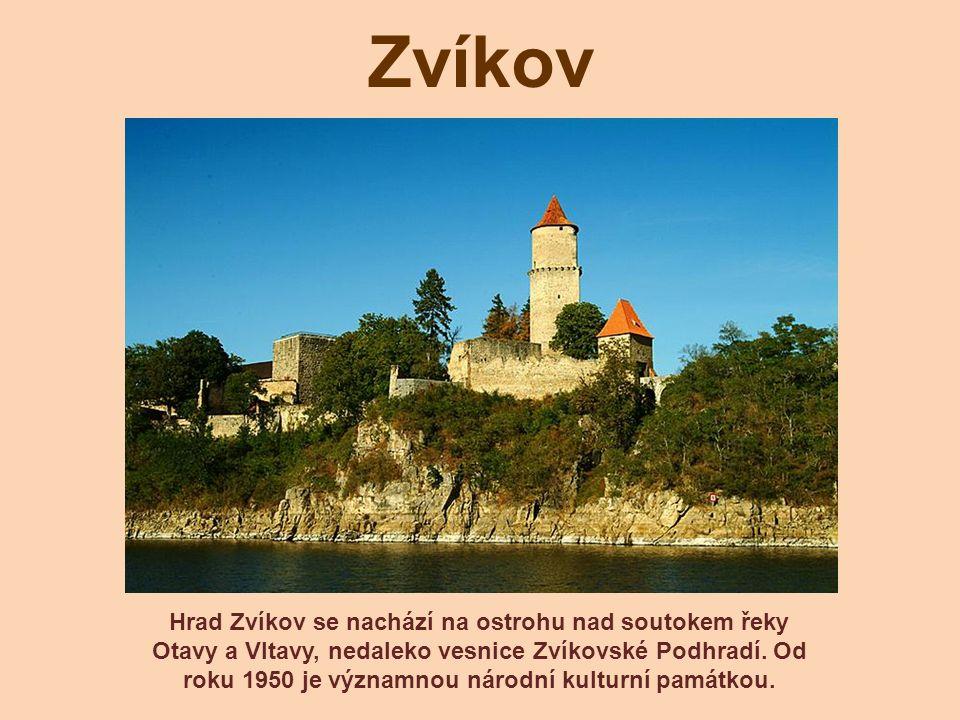 Zvíkov Hrad Zvíkov se nachází na ostrohu nad soutokem řeky Otavy a Vltavy, nedaleko vesnice Zvíkovské Podhradí. Od roku 1950 je významnou národní kult