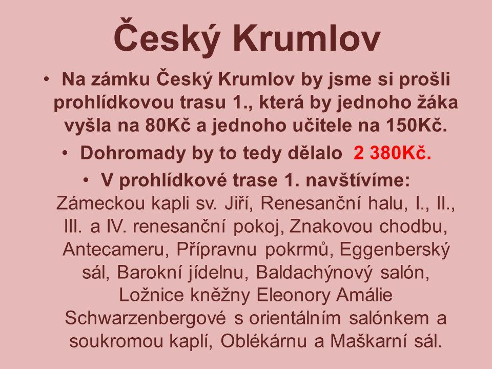Český Krumlov Na zámku Český Krumlov by jsme si prošli prohlídkovou trasu 1., která by jednoho žáka vyšla na 80Kč a jednoho učitele na 150Kč. Dohromad