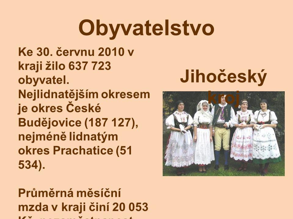 Obyvatelstvo Ke 30. červnu 2010 v kraji žilo 637 723 obyvatel. Nejlidnatějším okresem je okres České Budějovice (187 127), nejméně lidnatým okres Prac