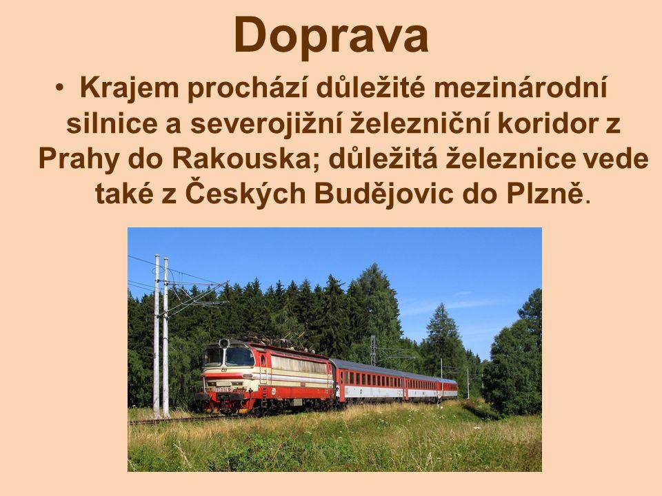 Krajem prochází důležité mezinárodní silnice a severojižní železniční koridor z Prahy do Rakouska; důležitá železnice vede také z Českých Budějovic do