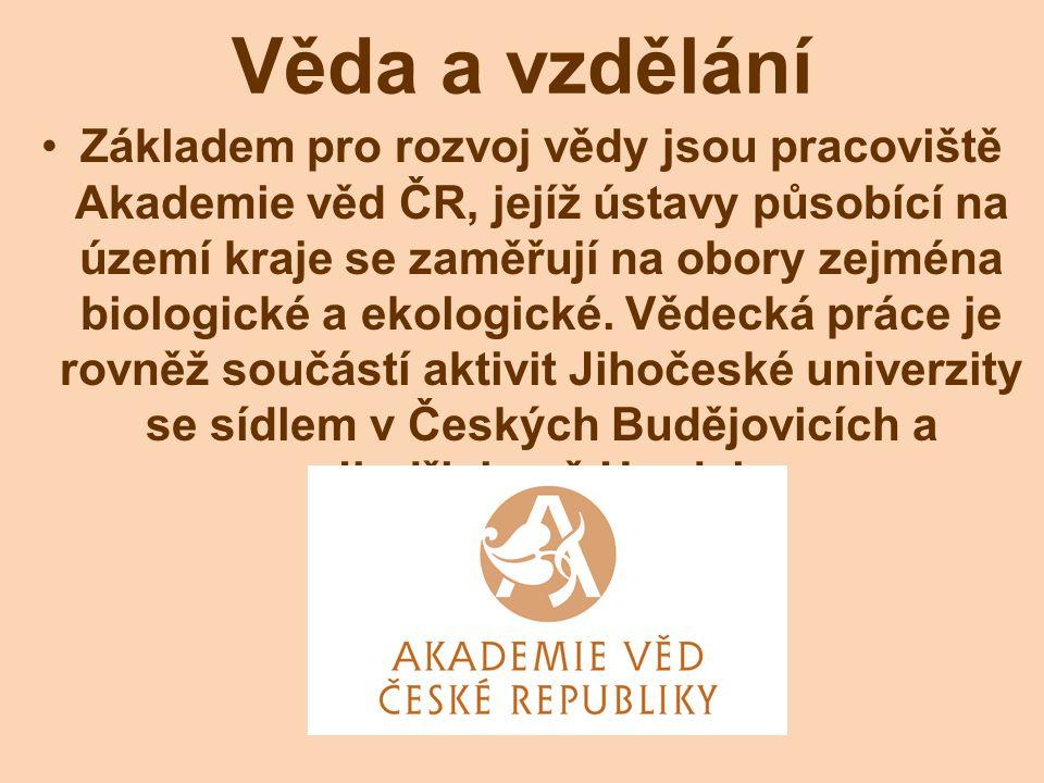 Věda a vzdělání Základem pro rozvoj vědy jsou pracoviště Akademie věd ČR, jejíž ústavy působící na území kraje se zaměřují na obory zejména biologické