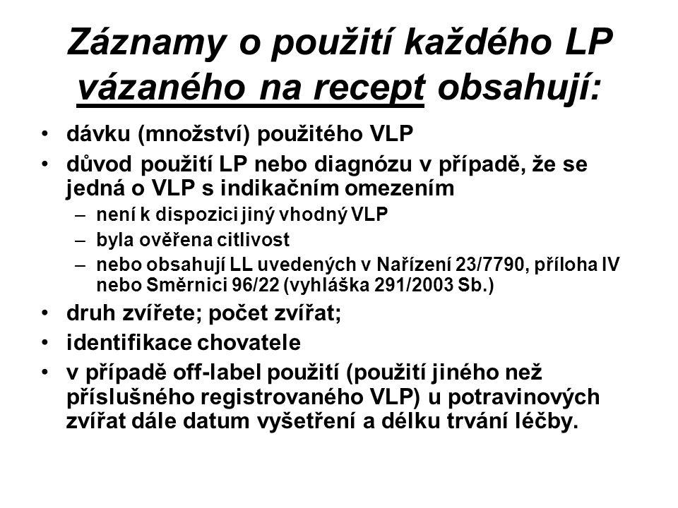 Záznamy o použití každého LP vázaného na recept obsahují: dávku (množství) použitého VLP důvod použití LP nebo diagnózu v případě, že se jedná o VLP s indikačním omezením –není k dispozici jiný vhodný VLP –byla ověřena citlivost –nebo obsahují LL uvedených v Nařízení 23/7790, příloha IV nebo Směrnici 96/22 (vyhláška 291/2003 Sb.) druh zvířete; počet zvířat; identifikace chovatele v případě off-label použití (použití jiného než příslušného registrovaného VLP) u potravinových zvířat dále datum vyšetření a délku trvání léčby.