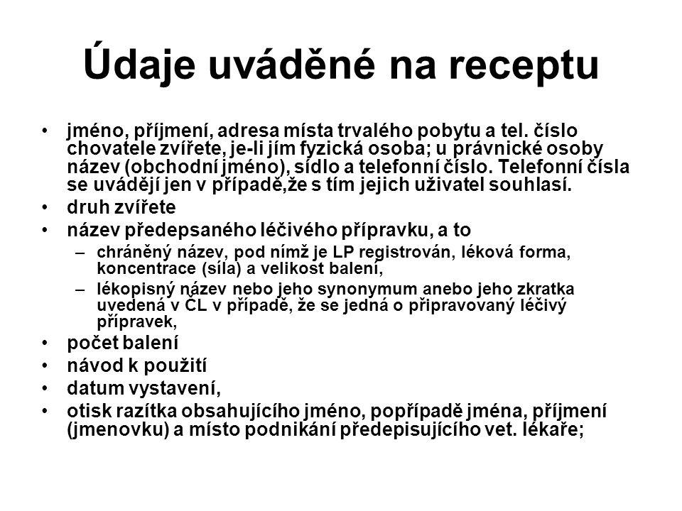 Údaje uváděné na receptu jméno, příjmení, adresa místa trvalého pobytu a tel.