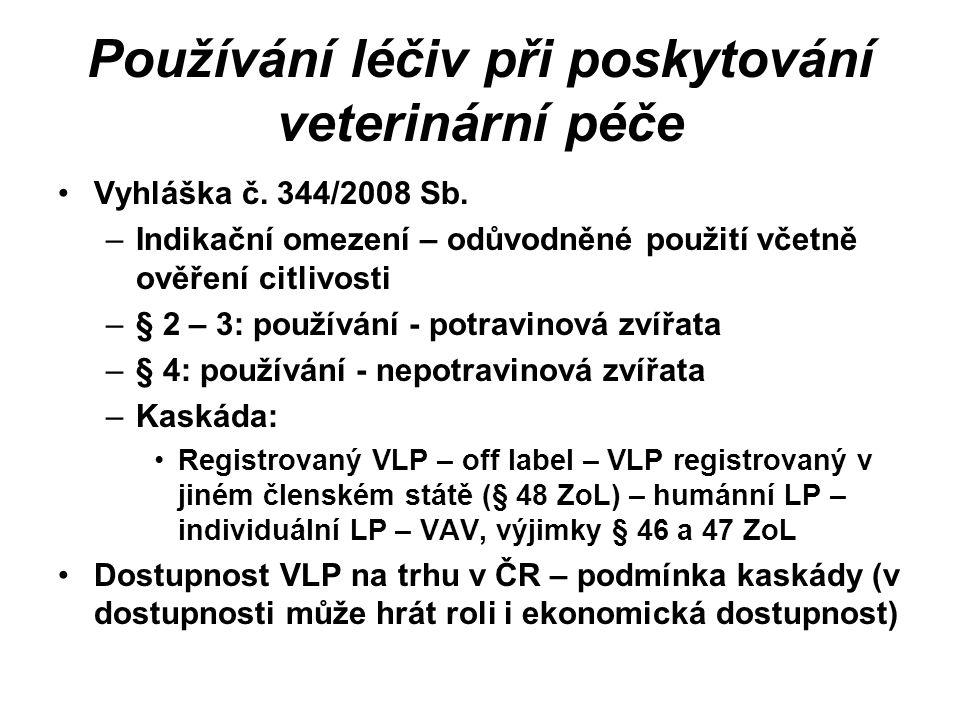Používání léčiv při poskytování veterinární péče Vyhláška č.