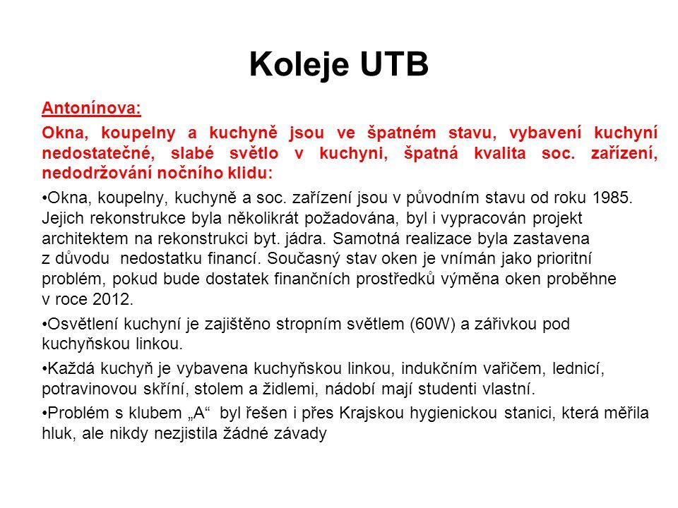 Koleje UTB Antonínova: Okna, koupelny a kuchyně jsou ve špatném stavu, vybavení kuchyní nedostatečné, slabé světlo v kuchyni, špatná kvalita soc.