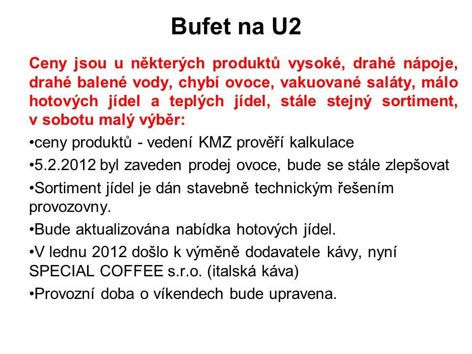 Bufet na U2 Ceny jsou u některých produktů vysoké, drahé nápoje, drahé balené vody, chybí ovoce, vakuované saláty, málo hotových jídel a teplých jídel, stále stejný sortiment, v sobotu malý výběr: ceny produktů - vedení KMZ prověří kalkulace 5.2.2012 byl zaveden prodej ovoce, bude se stále zlepšovat Sortiment jídel je dán stavebně technickým řešením provozovny.