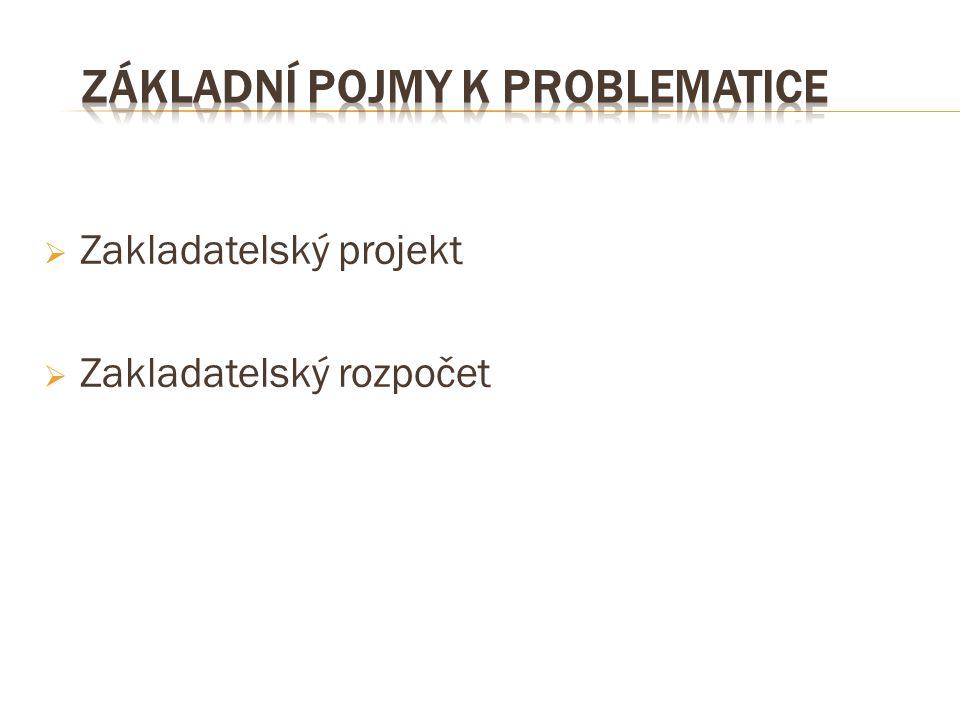  Zakladatelský projekt  Zakladatelský rozpočet