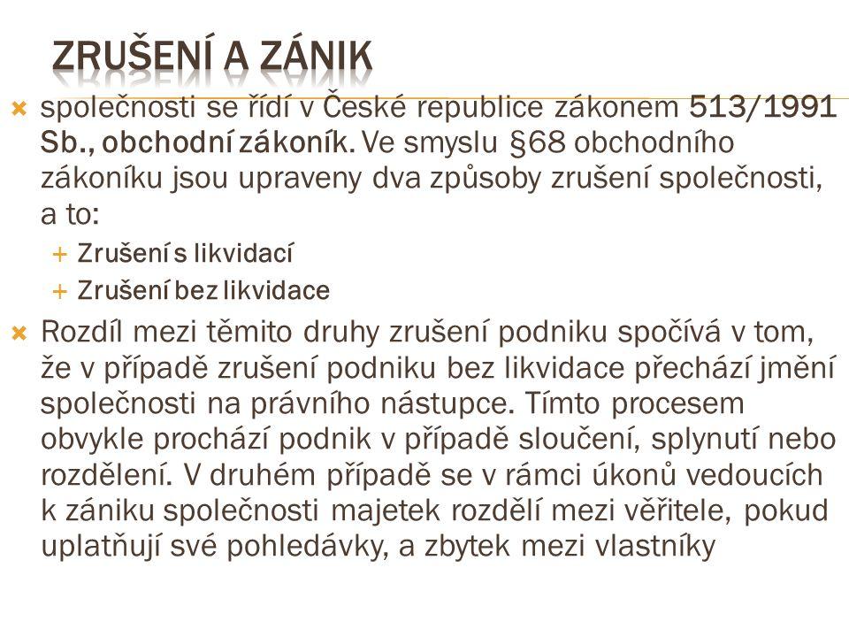  společnosti se řídí v České republice zákonem 513/1991 Sb., obchodní zákoník.